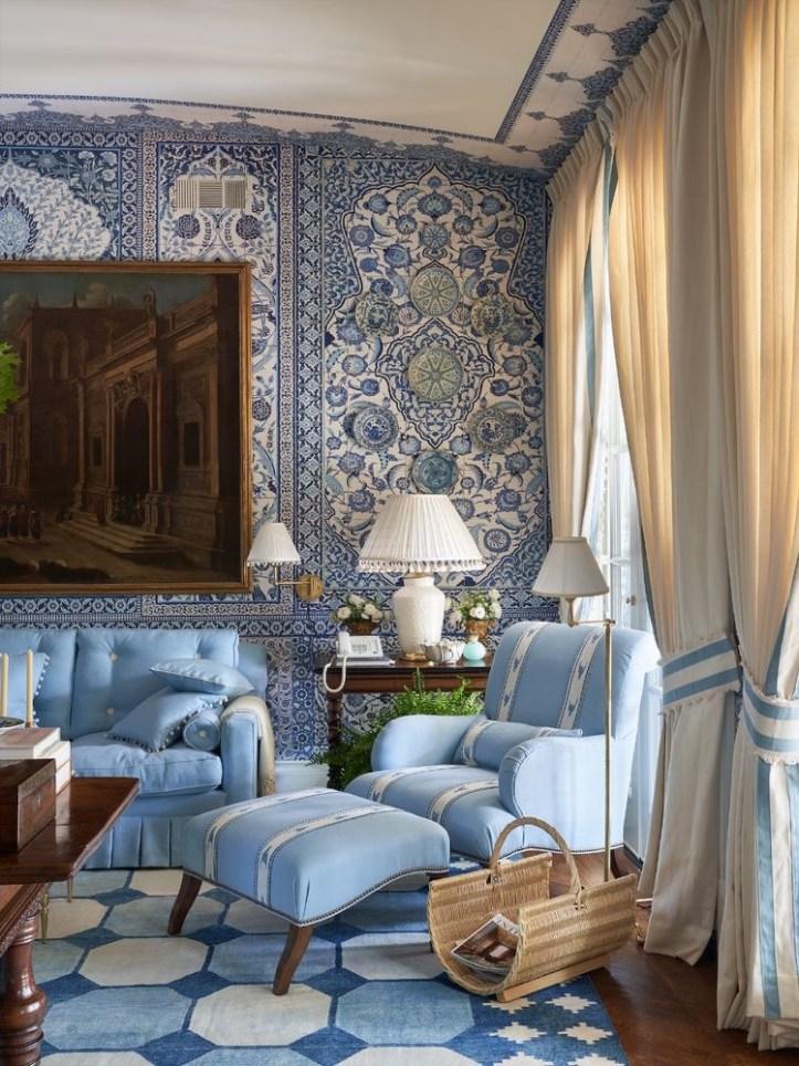 Mark D Sikes blue living room