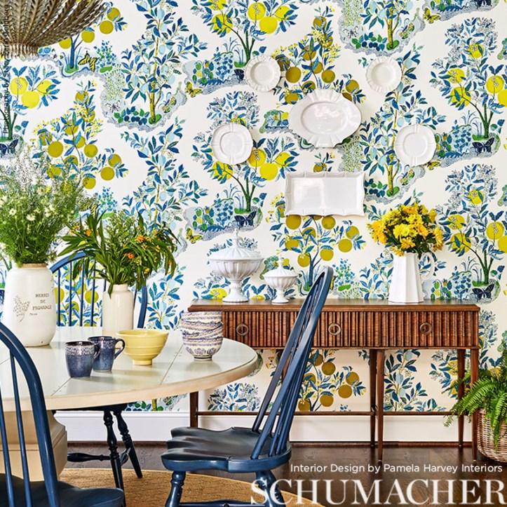 Pamela Harvey Interiors dining room with Citrus Garden wallpaper
