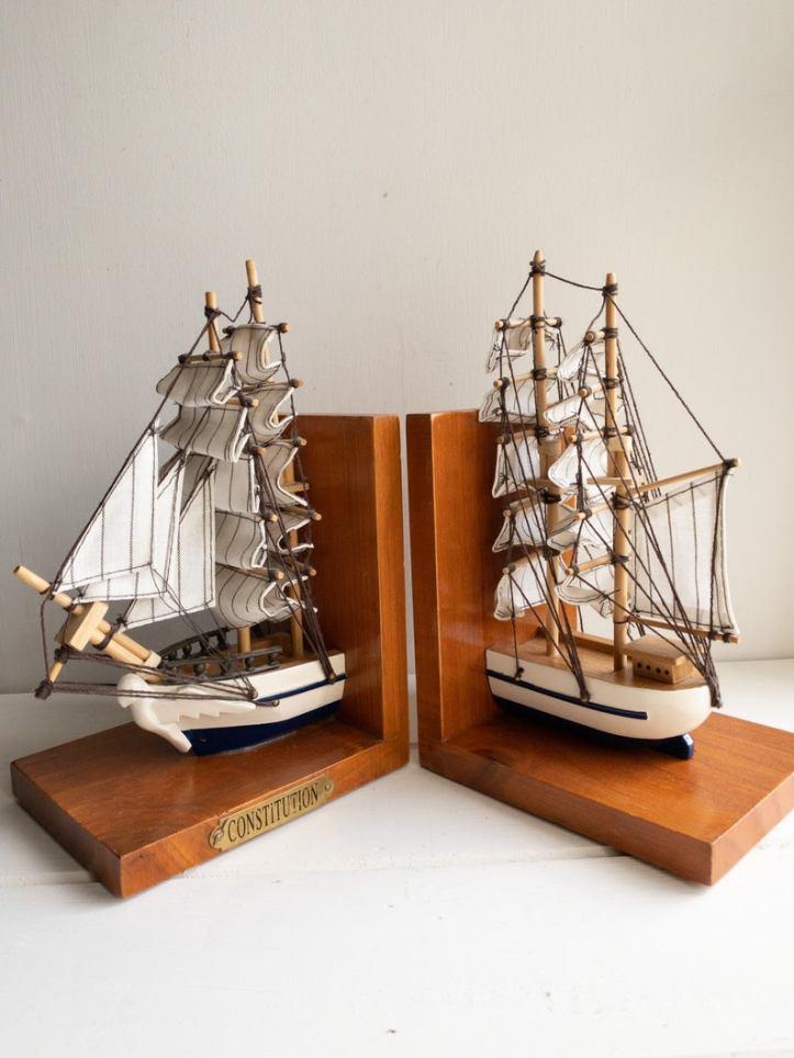 Vintage ship boat bookends