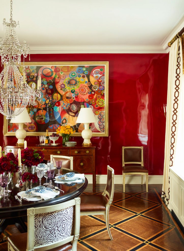Ashley Whittaker dining room with red lacquer walls