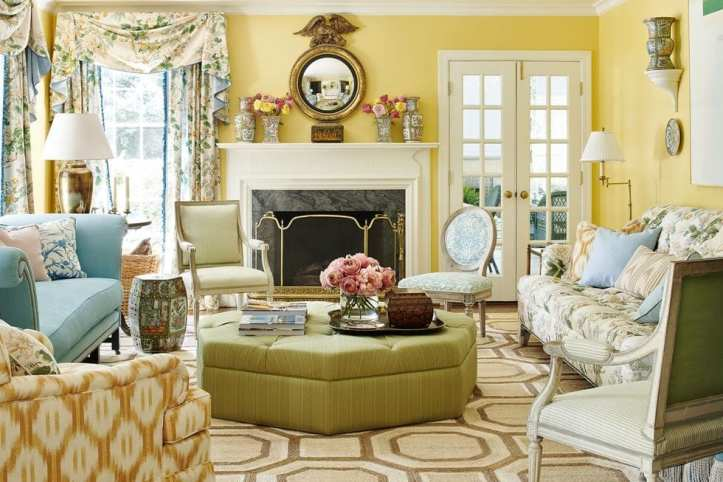 Mark D. Sikes livingroom with Chinese Peony drapes
