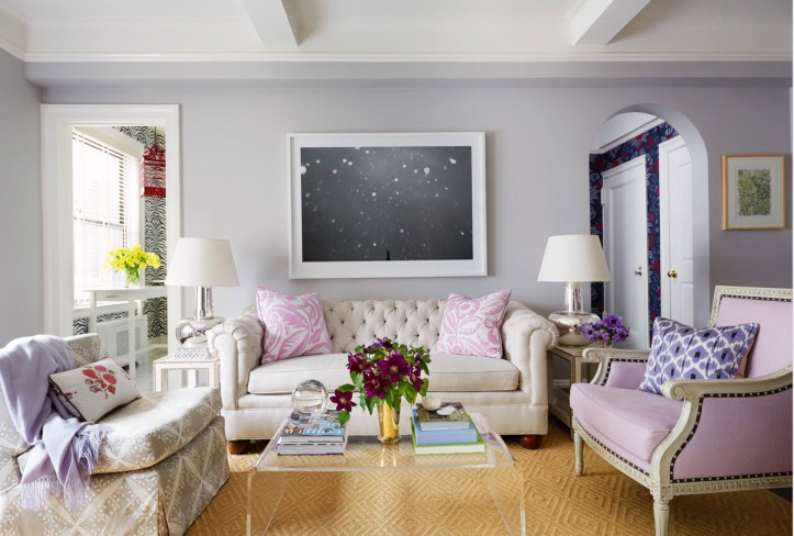 Ashley Whittaker new traditional living room in purple