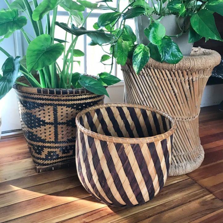 Vintage striped rattan planter