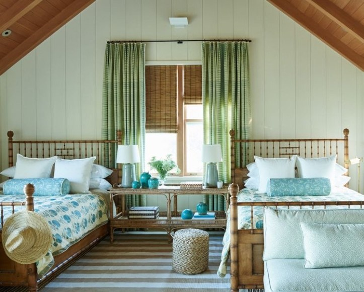Mark D. Sikes bedroom with multiple beds