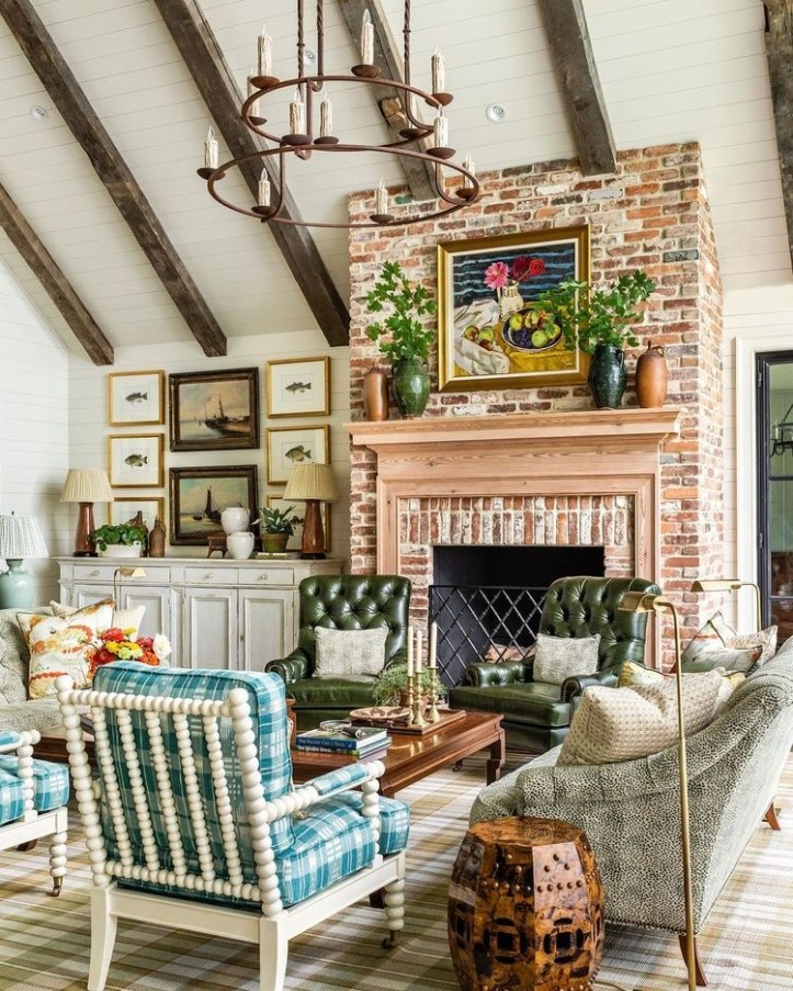 James T. Farmer living room with brick fireplace