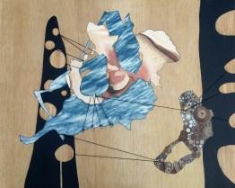 """Tug O' War,"" 32""x40"", acrylic, Sharpie and leather cord on sewn plywood panel, 2016"