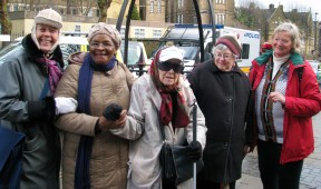 Fran (l) meets NHS stalwarts