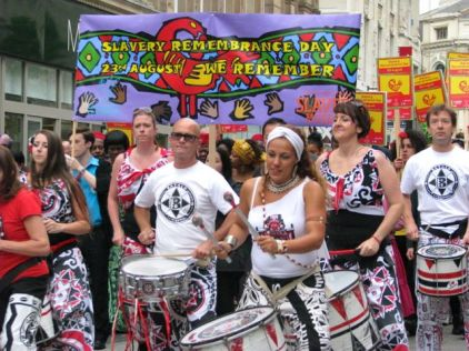 Drummers lead Slavery Remembrance march
