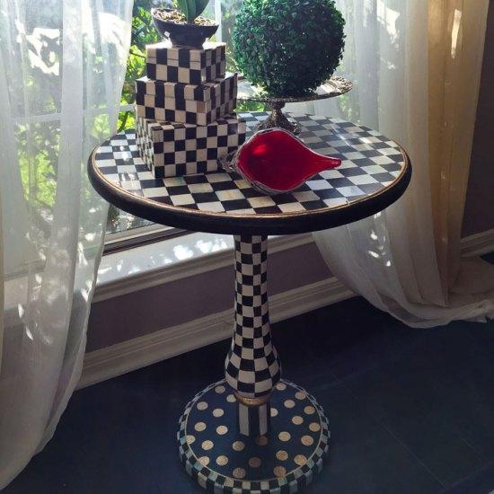 Mackenzie Childs inspired accent table - DIY | Alice in Wonderland |Home Decor |Baroque Interior |Glam interior | Black and White Furniture | DIY Home Decor | DIY Furniture