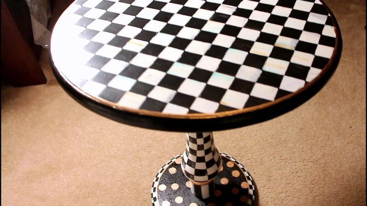 Mackenzie Childs inspired accent table - DIY #homedecor #baroqueinterior #glam with Angela East at angelaeast.com