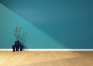 empty interior with a blue wall and vase at angelaeast.com