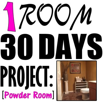 Powder Room Makeover #homedecor #1Room30Days with Angela East at angelaeast.com