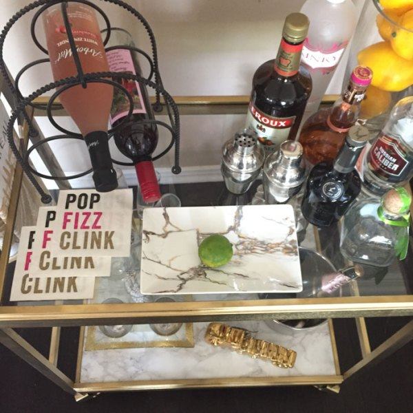 Goodwill Bar Cart Makeover - Thrift Store DIY   Recycle   Upcycle   Bar Station   Marble Contact Paper   Custom cut glass   Gold Spray Paint