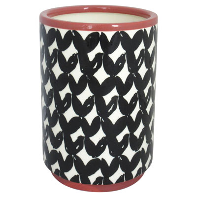 7.5″ Round Stone Planter – Black/White/Pink – Threshold
