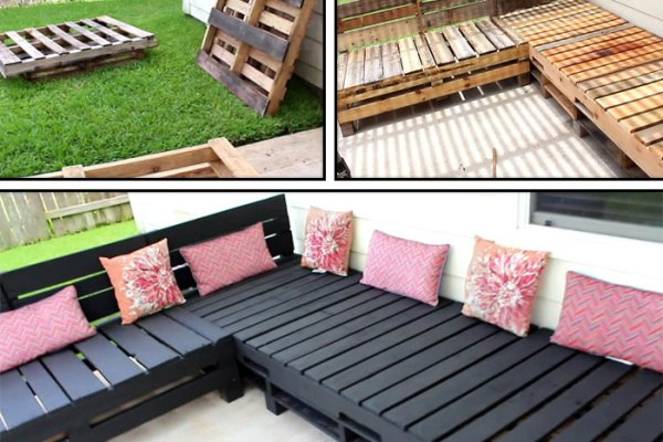 DIY Pallet Furniture - Patio Furniture Sectional | DIY Furniture | DIY | Outdoor Living | Home Decor | Patio Makeove | Patio Decor | Deck Decorations | Porch Decorations | Gardening