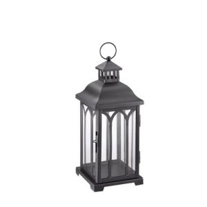 Small Front Porch Decorating Ideas For Summer | Hampton Bay 14in Metal Lantern Black | Outdoor Living | Home Decor | Curb Appeal | Fourth of July Decoration | 4th of July Decoration