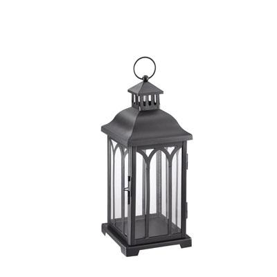 Hampton Bay 14 in. Metal Lantern in Black