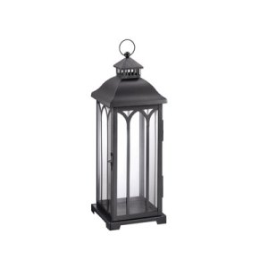 Small Front Porch Decorating Ideas For Summer | Hampton Bay 22in Metal Lantern Black | Outdoor Living | Home Decor | Curb Appeal | Fourth of July Decoration | 4th of July Decoration