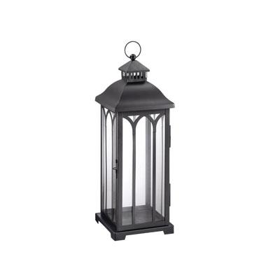 Hampton Bay 22 in. Metal Lantern in Black