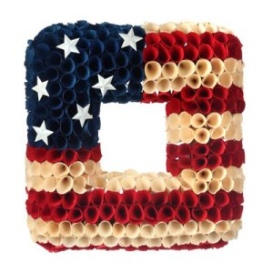 Small Front Porch Decorating Ideas For Summer  Woodshave Independence Square 14in Wreath  Outdoor Living   Home Decor   Curb Appeal   Fourth of July Decoration   4th of July Decoration