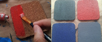 step3 - painting cork coasters