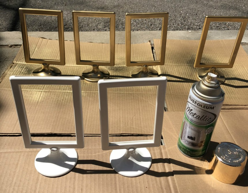 rustoleum specialty metallic gold spray paint on ikea tolsby frame