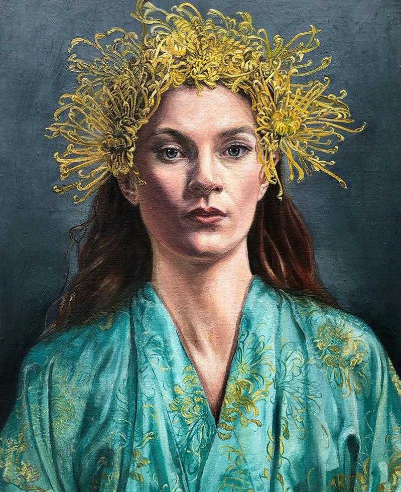 Oil painting on linen- portrait of woman in turquoise kimono with chrysanthemum headdress