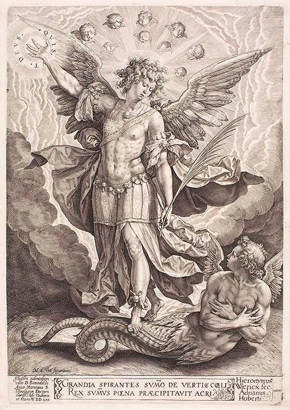 Grabado de H. Wierix (1584) dedicado a Benito Arias Montano, a partir de un modelo de Martín de Vos: San Miguel y Luzbel