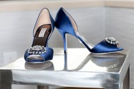 Love these blue satin Badgley Mischka shoes