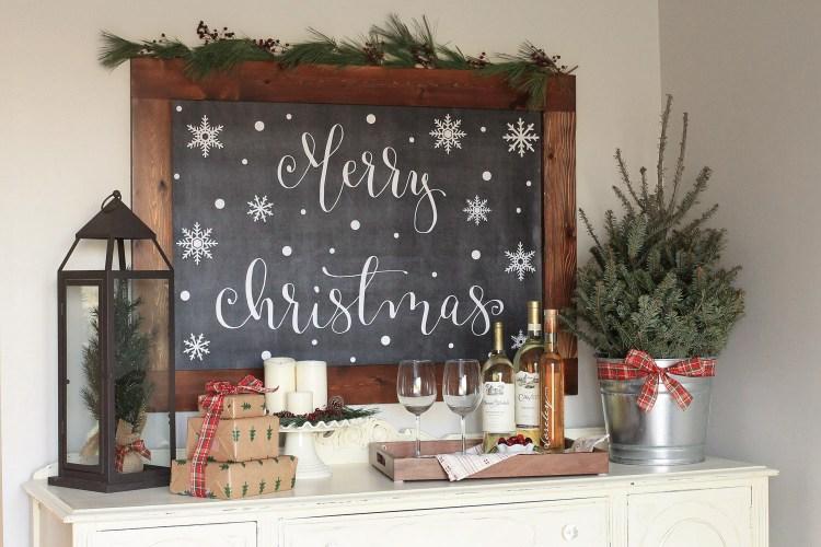 Cozy Christmas Kitchen Wine Nook