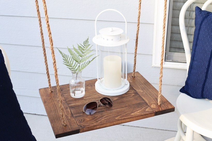 DIY floating table with Minwax provincial stain