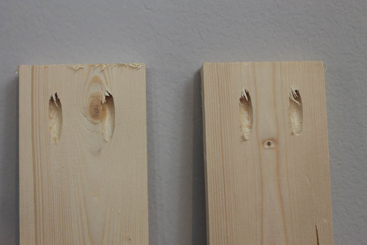 two wood boards with pocket holes for hall tree frame