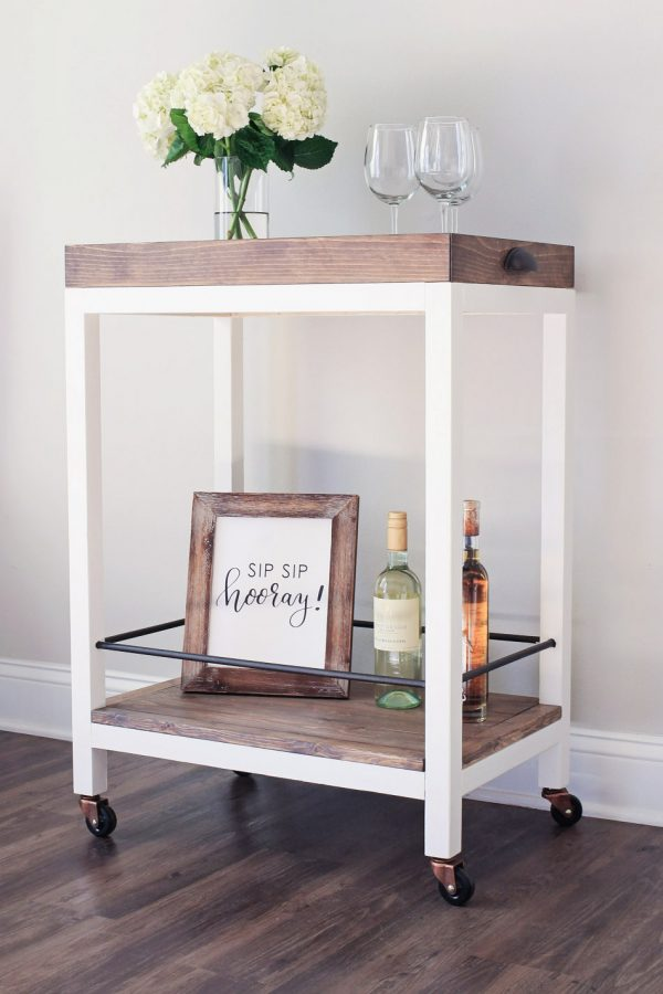 side angle view of DIY bar cart