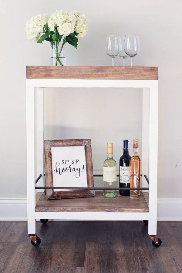 DIY wood bar cart front view