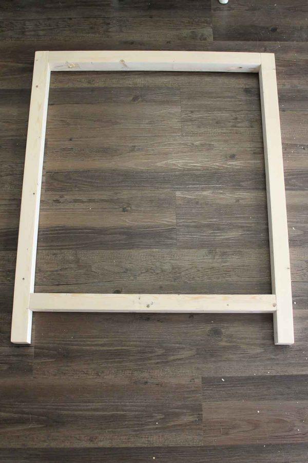one side of the DIY wood bar cart frame assembled