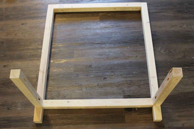 Assembling DIY bar cart wood frame together with Kreg screws and pocket holes
