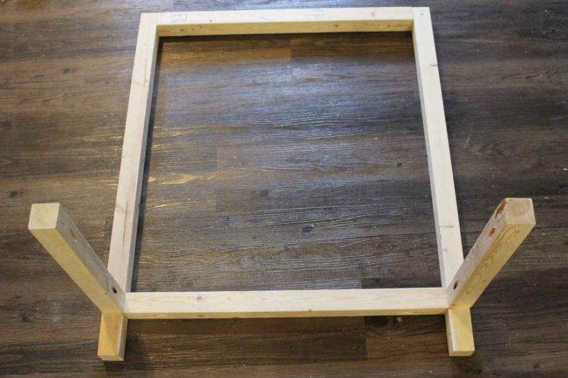 Assembling DIY bar cart wood frame together with Kreg screws and pocket holes