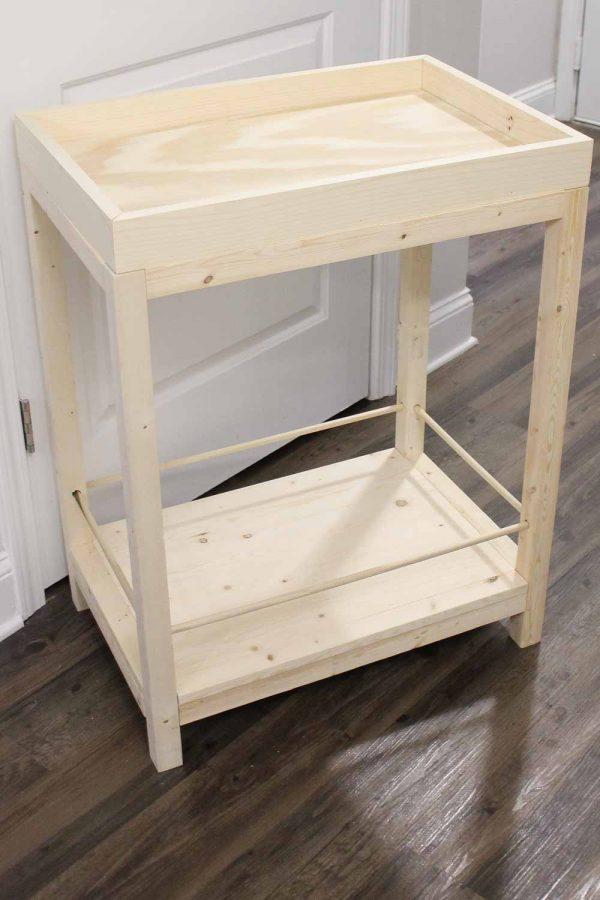 Unfinished DIY bar cart before adding caster wheels