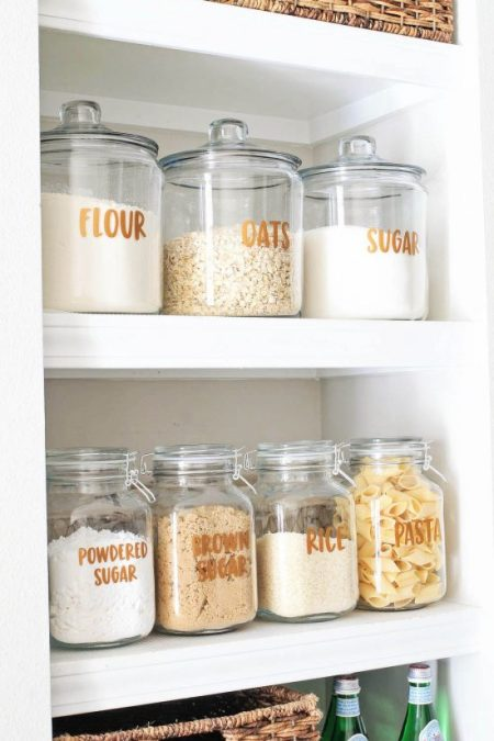 Open Pantry Shelves and free Pantry Labels