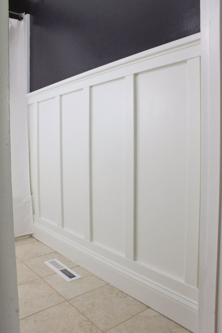Board and batten bathroom diy angela marie made for How high should wainscoting be in a bathroom