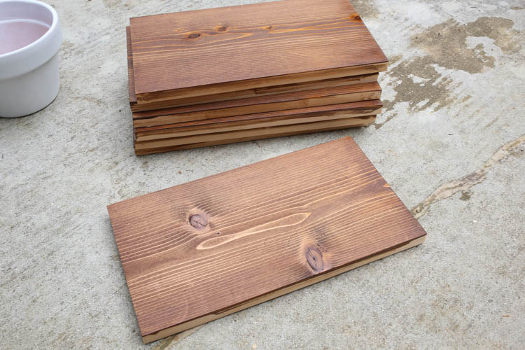 stained cedar wood boards for back of vertical planter
