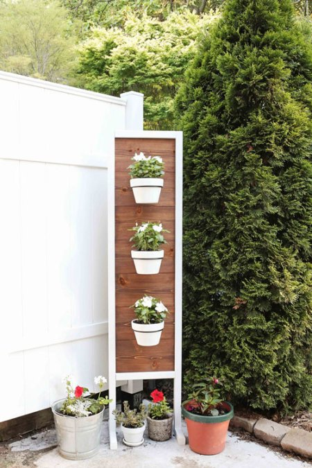 diy planter box stand on back patio