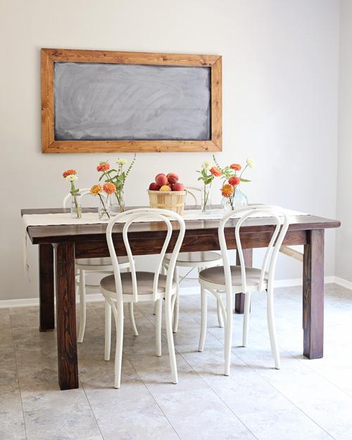 Peach Summer Tablescape Farm Table