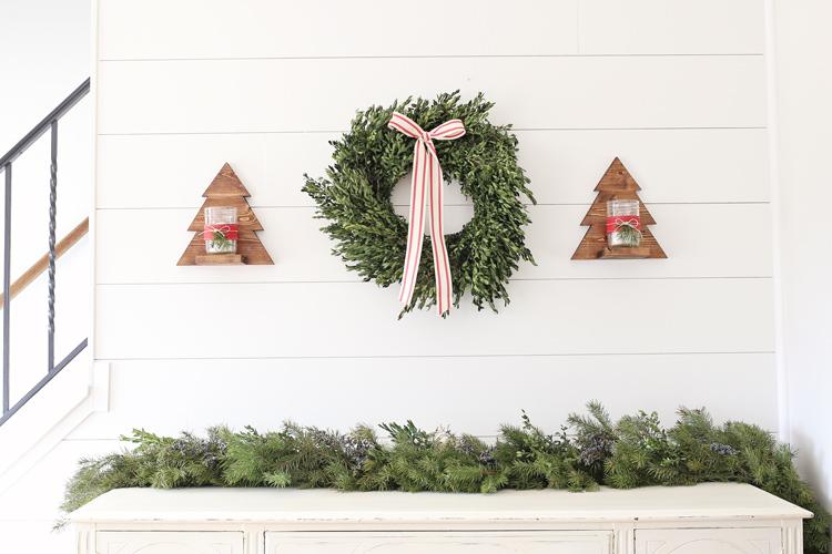 DIY Wood Christmas Tree Mason Jar Sconce