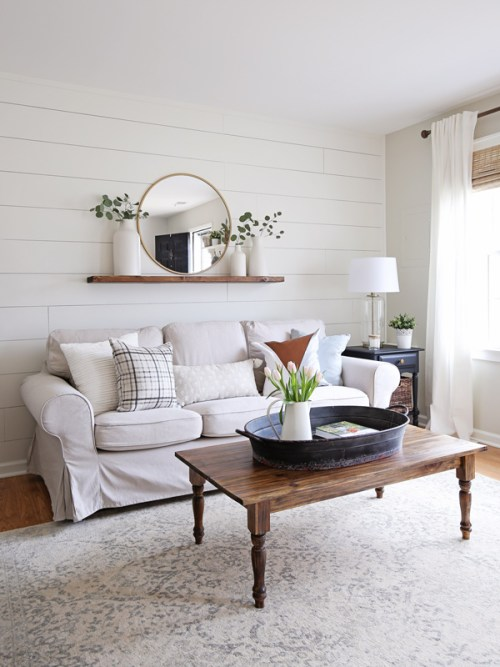 Gray And White Transitional Rustic Living Room With: Modern Rustic Living Room Makeover