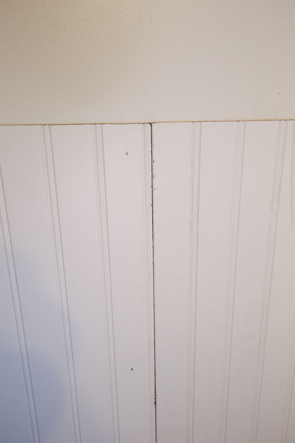 Two Beadboard Panels Being Installed On Bathroom Wall. Continue Adding The  ...