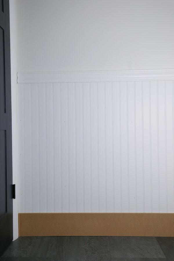 beadboard bathroom with mdf board used for floor baseboard molding