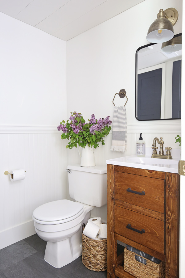 Small bathroom makeover on a budget angela marie made - Cheap bathroom ideas for small bathrooms ...