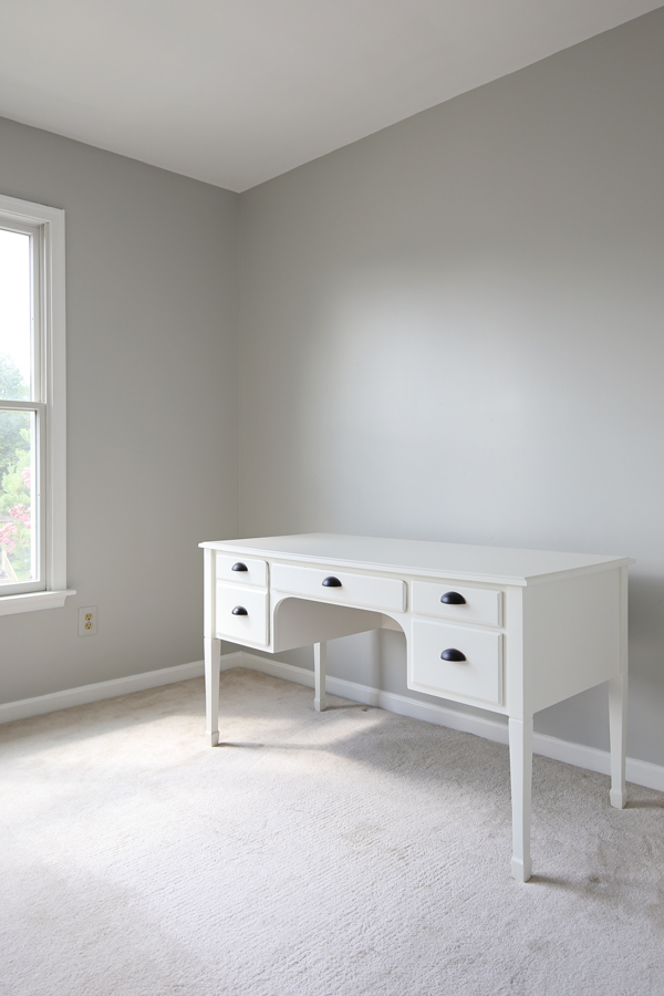 Office Makeover To Office Makeover Progress With Gray Painted Walls And White Desk Plans Angela Marie Made