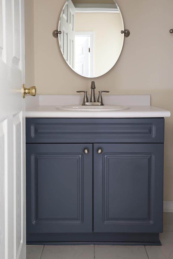 how to paint a bathroom vanity angela marie made rh angelamariemade com Painted Oak Bathroom Cabinets Blue Painted Bathroom Cabinets